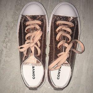 Converse core ox glitter dusk pink low tops junior